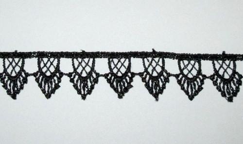 Кружево макраме Подвески 2 см, черное