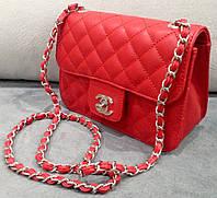 Клатч красный через плечо Chanel красная маленькая сумочка Шанель