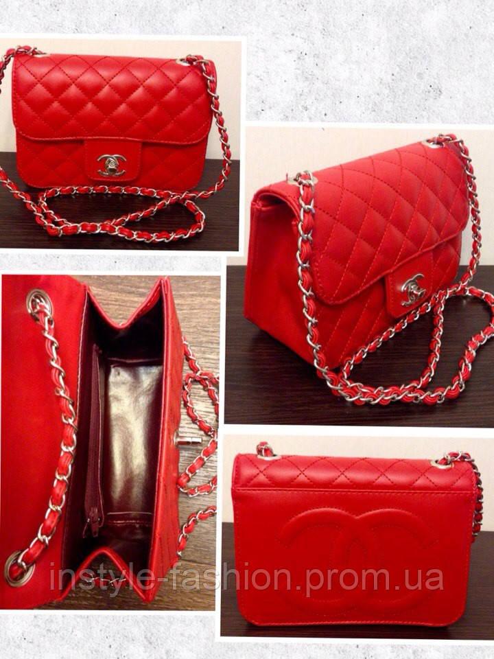 Клатч красный через плечо Chanel красная маленькая сумочка Шанель, фото 2 c54ffd0b195