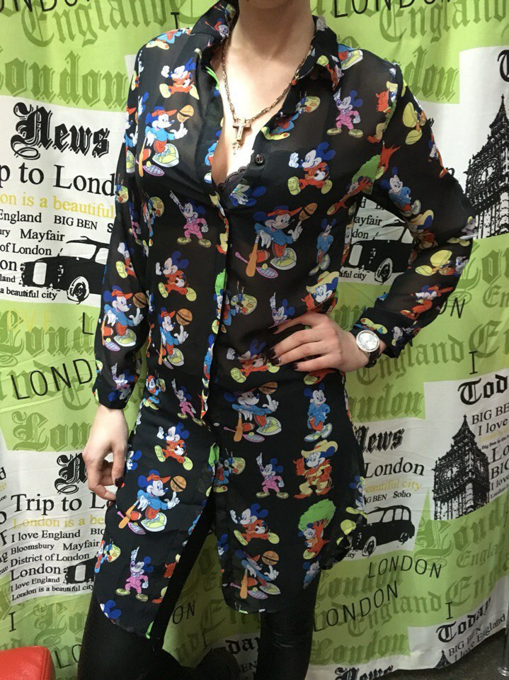 Рубашка-туника женская из шифона с принтом Турция
