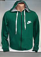 Мужская спортивная кофта с капюшоном и на молнии, зеленого цвета
