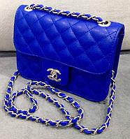 Клатч женский синий, Сумка клатч через плечо Chanel синяя