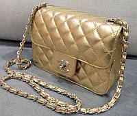 Сумка клатч через плечо Chanel золотая