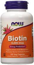 Биотин 5000 мкг, Now Foods, 60 капсул. Сделано в США.
