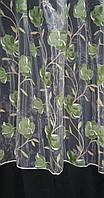 Тюль органза печать Цветы хаки