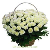 Корзина цветов 101 белая роза