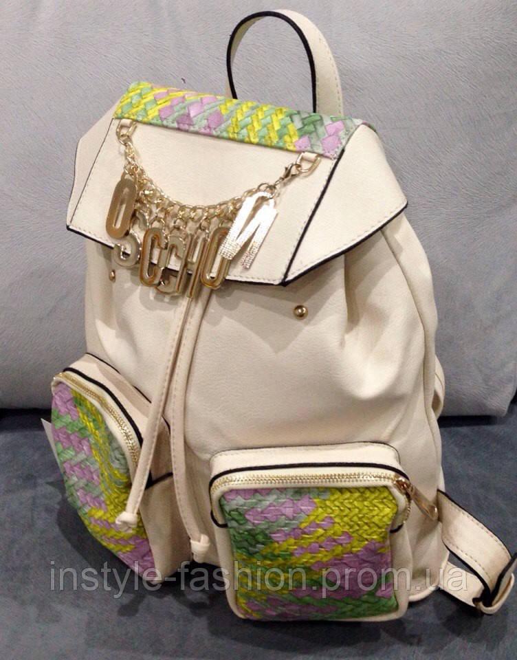3428e5c9e928 Рюкзак Moschino белый эко-кожа - Сумки брендовые, кошельки, очки, женская  одежда