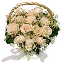 Корзина цветов Сердце из роз