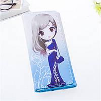 Красивый женский кошелек с рисунком аниме. Кошельки с принтом в 5 цветах.