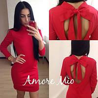 Платье с открытой спиной и бантом трикотаж разные цвета SML109