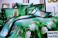 Постельное двуспальное сатиновое белье 5D с белыми тюльпанами