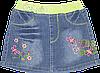 Детская джинсовая юбка с вышивкой, короткая, вязаная резинка на поясе, Китая,р.80,86,92