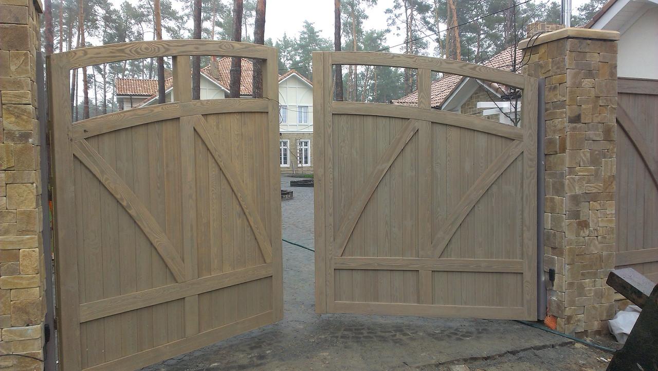 Деревянные распашные ворота с калиткой