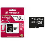 MicroSD HC 32GB Transcend (TS32GUSDHC10, с переходником на полный SD)