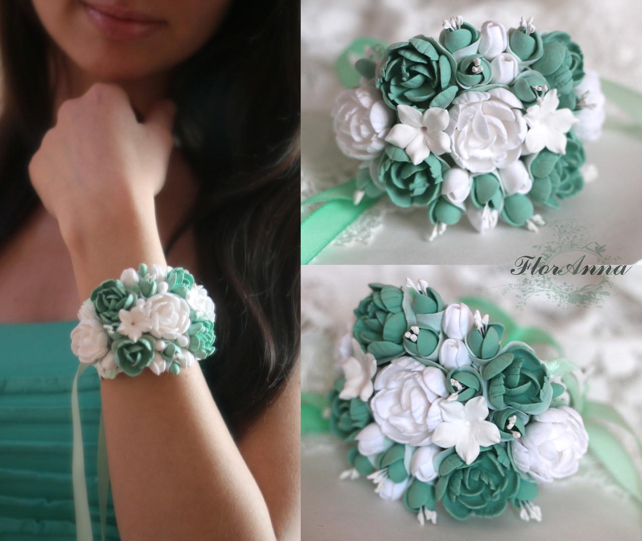 Браслеты из живых цветов на руку подружкам невесты