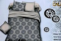 Двуспальное сатиновое постельное белье 5D серое с рисунком