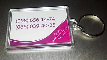 Брелок с фото на заказ для магазина женской одежды. Размер фото 50х35 мм 2