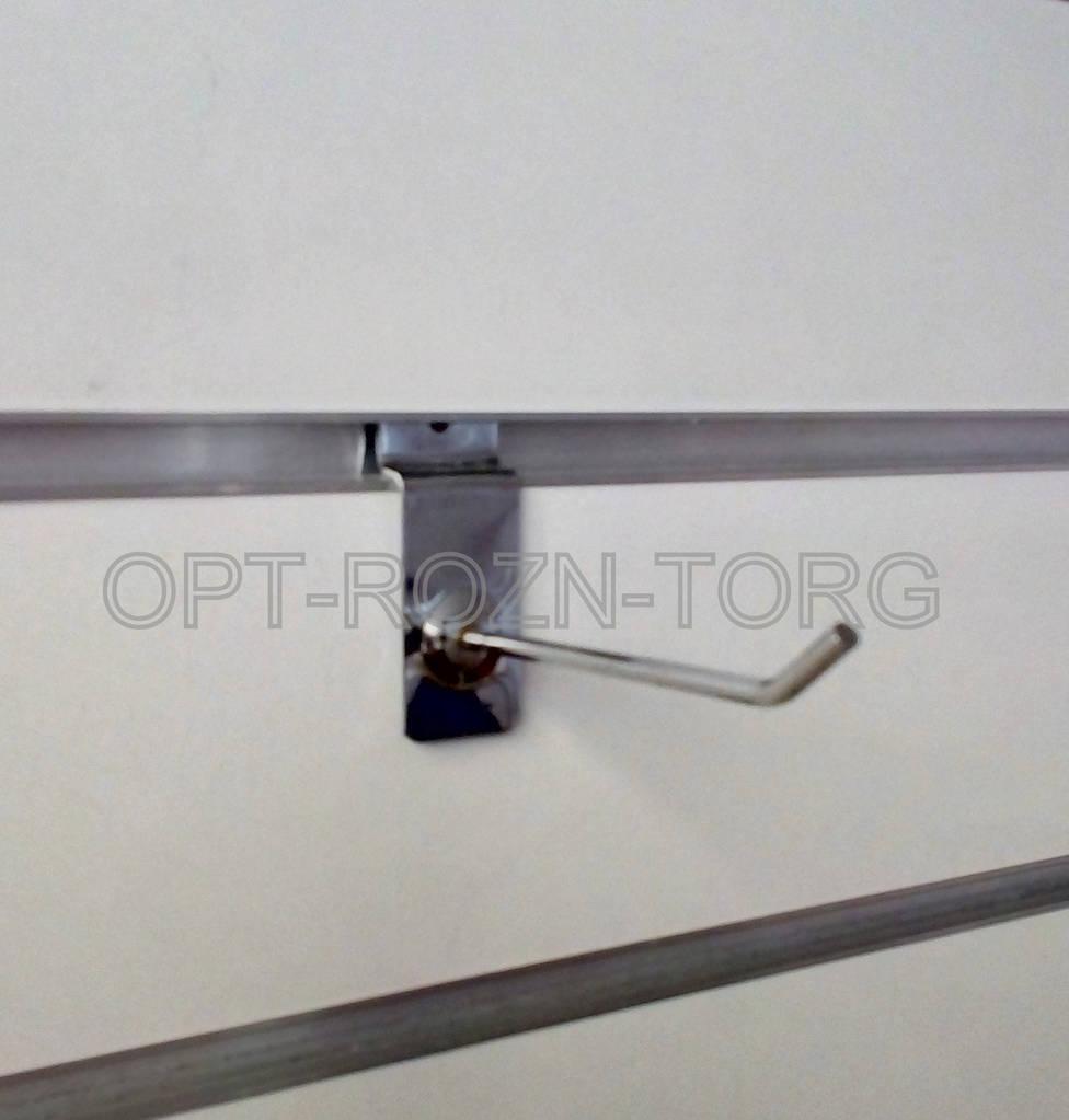 Крючок хромированный в экономпанель 10 см.(4 мм)