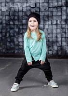 Легкая хлопковая футболка с длинным рукавом. Мята. Размеры: 86 см, фото 1