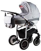 Детская универсальная коляска 2 в 1 ADAMEX Active Len (Серый(цветочки)-серый лен 227W)