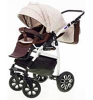 Детская универсальная коляска 2 в 1 ADAMEX Active Len (Бежевый(цветочки)-коричневый лен 238W)