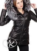 Cтеганая кожаная куртка черная, фото 1