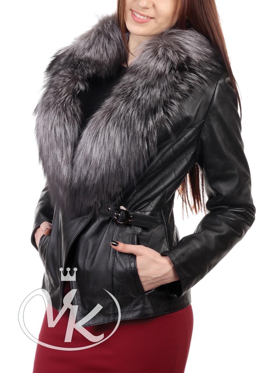 Женская кожаная куртка с чернобуркой на синтепоне 52 размера (Арт. MD202)