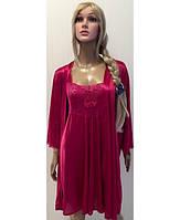 Комплект ночная рубашка+халат KR-8706 (малина)