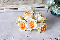 Розочки 60 шт/уп. оптом диаметр 2,5-3 см  белый+оранж