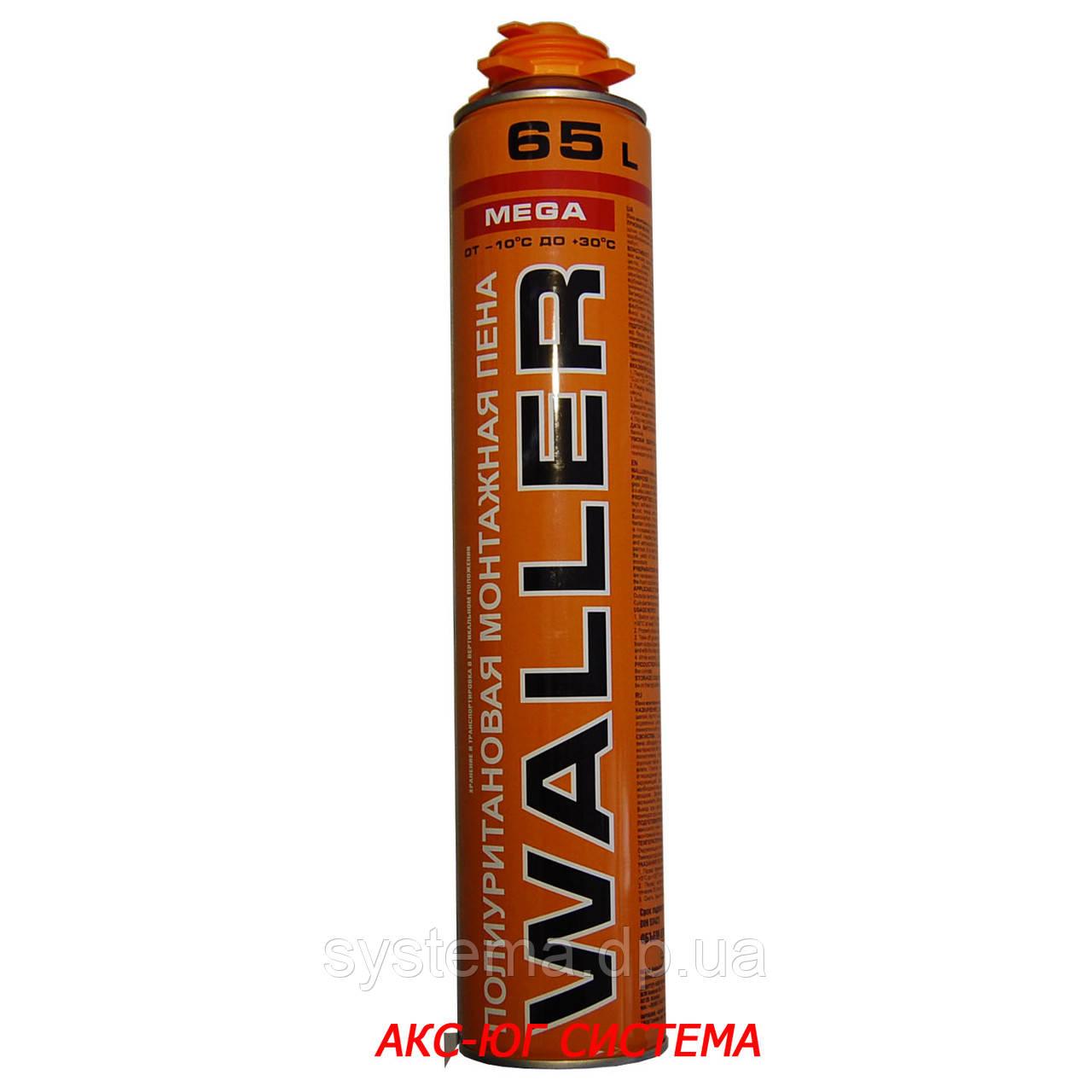 Пена монтажная профессиональная WALLER MEGA, всесезонная, применение от -10ºС  до +30ºС, 65 л, 875 мл