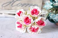 Розочки 60 шт/уп. оптом диаметр 2,5-3 см  белый+ярко-розовый