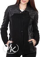 Черная кожаная куртка замша