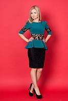 Нарядное короткое платье с баской (4 цвета)