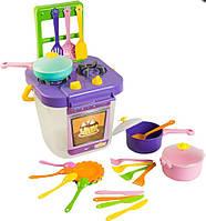 Набор игрушечной посуды столовый Ромашка с плитой 25 элементов