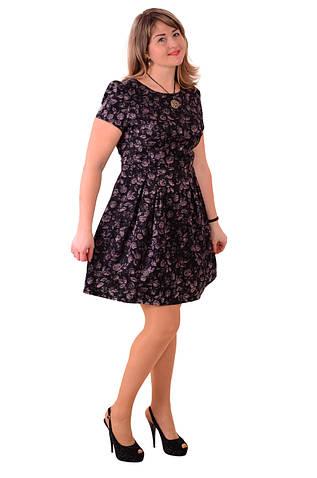 Платье - футляр  Пл 072-1 черное с цветочным жаккардовым рисунком , легкое