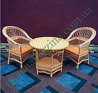 Набор плетеной мебели с двумя креслами и круглым столом на 6-ти ножках и полочкой Арт.12697-2