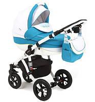 Детская универсальная коляска 2 в 1 ADAMEX Avila (Синий-белый-волны голуб.,син.,бел.,салат. 18P)