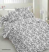 Півтораспальний постільний комплект - Чорний вензель на білому