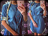 Красивое платье из джинса, принт горошки