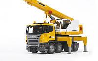 Bruder 03570 игрушка - автокран SCANIA - Liebherr, большая машина со светом и звуком