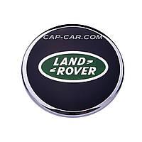 Колпачек Land rover черный с зеленым логотипом и хромированной окантовкой