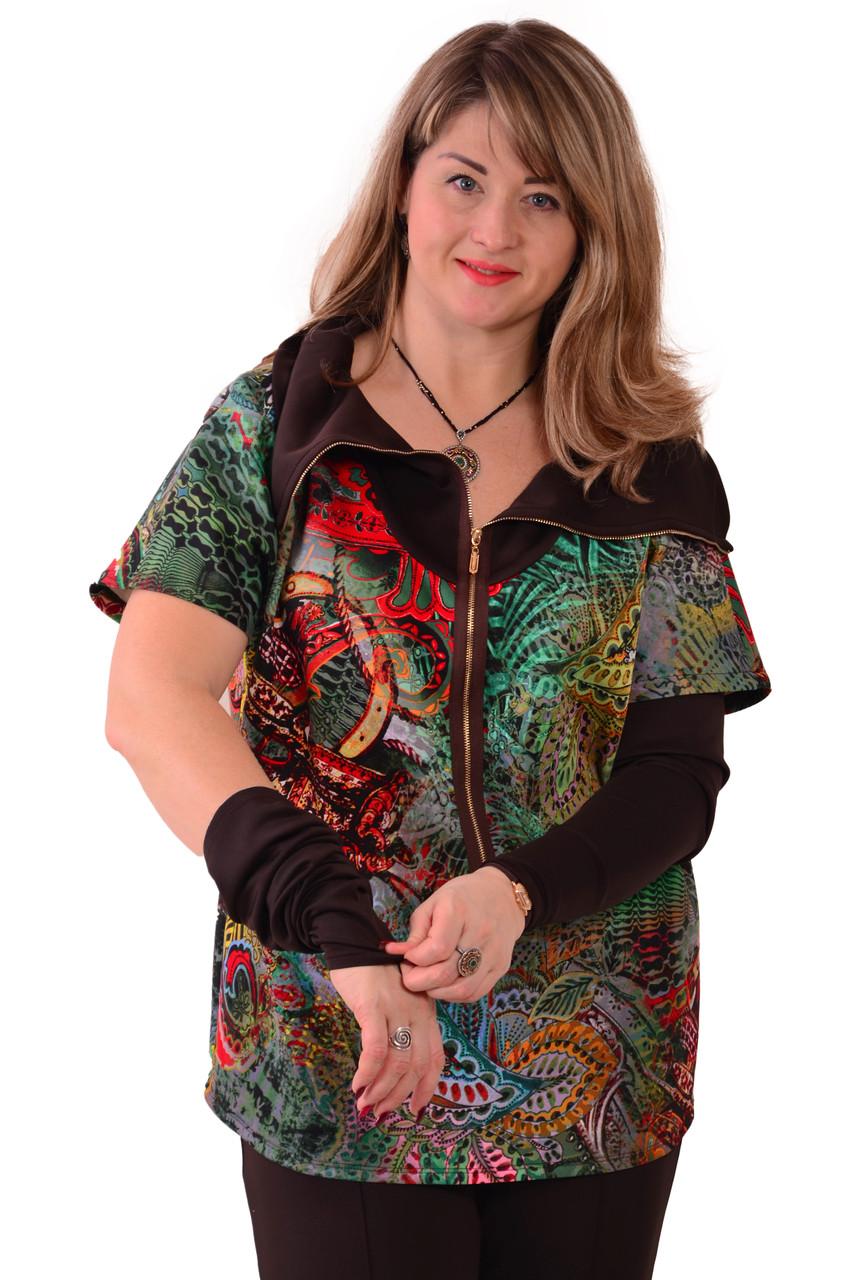 Блузки туніки +для повних ,з рукавами трансформер ,Бл 049