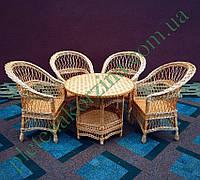 Набор плетеной мебели с четырмя креслами и круглым столом на 6-ти ножках и полочкой Арт.12697-4
