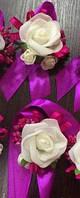 Набор (2 шт) бутоньерка  для жениха, свидетелей + браслет на руку невесте,свидетельнице,подружкам невесты