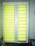 Делайт створка (день ночь), закрытая система (кассетная) рулонных штор с П-образными направляющими. Ткань Амели Оливковый И-111. Каталог тканей День ночь (Делайт)