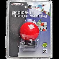 Громкий электронный звонок для велосипеда красного цвета
