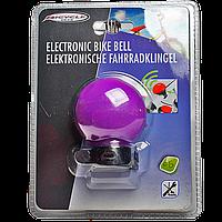Громкий электронный звонок для велосипеда фиолетового цвета