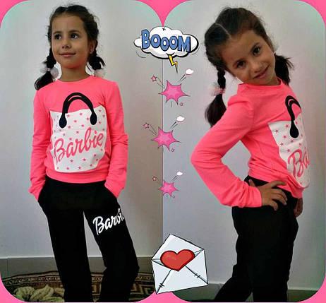 """Яркий детский спортивный костюм для девочки """"Barbie"""" с принтом и карманами (3 цвета), фото 2"""