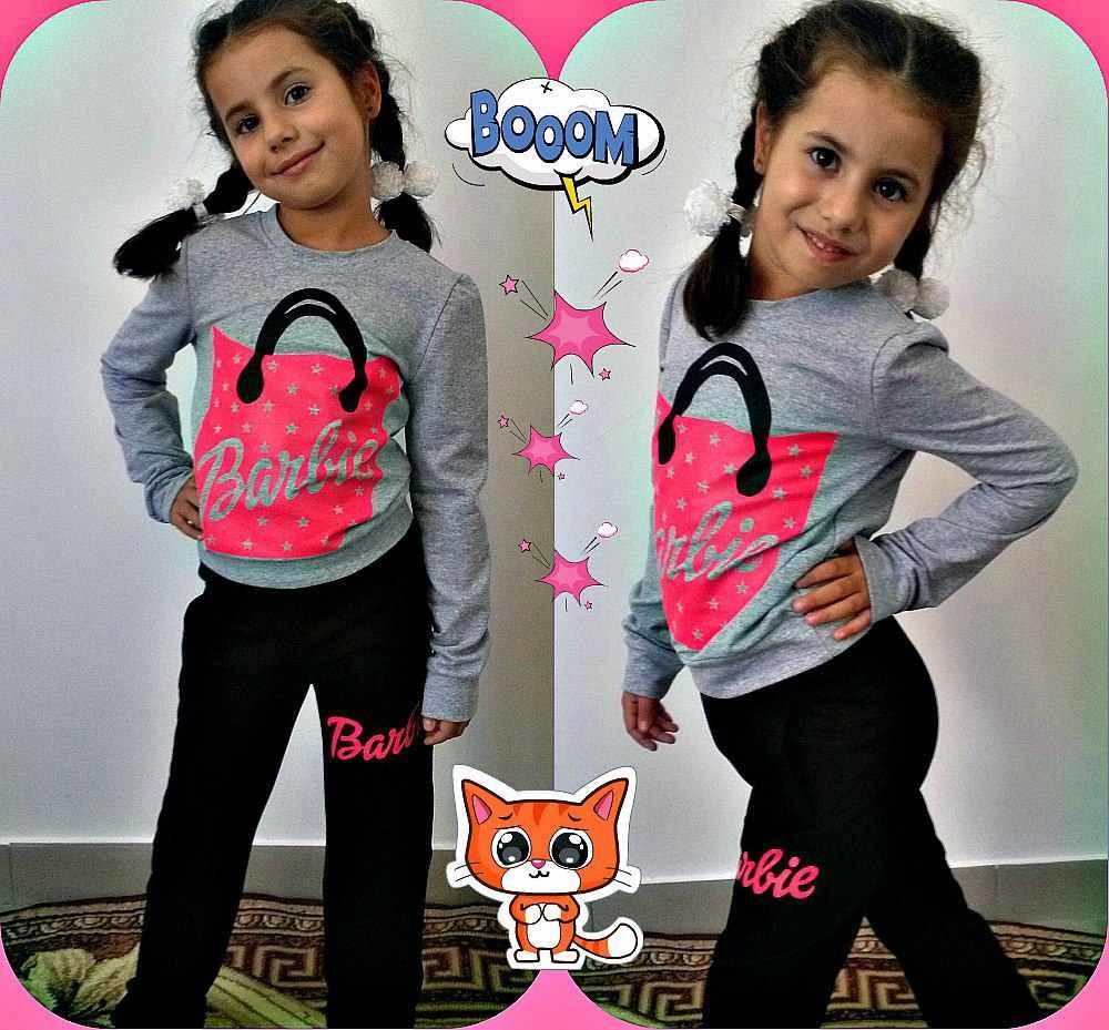 """Яркий детский спортивный костюм для девочки """"Barbie"""" с принтом и карманами (3 цвета)"""