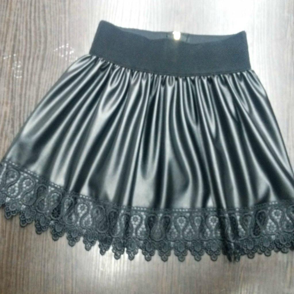 """Кожаная детская юбка на резинке """"Ажур"""" с кружевом (3 цвета)"""